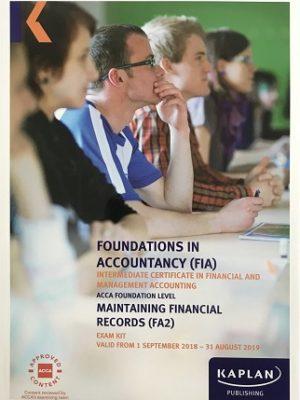 kaplan fia fa2 maintaining financial records exam kit 2018 2019