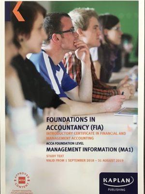 kaplan fia ma1 management information study text 2018 2019